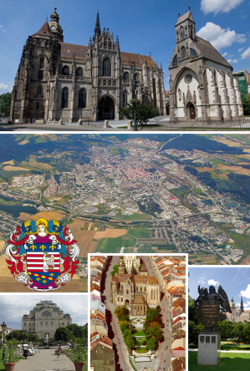 Top: St Elisabeth Cathedral and St Michael Chapel Center: General Aerial View Bottom (left to right): State Theater; Center of Hlavná street; Coat of Arms Statue Superimposed: Coat of Arms