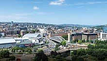 An aerial view of Sheffield City Centre