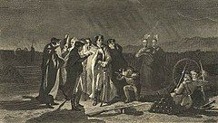 Night scene depicting Washington at center, standing among officers and Indians, around a lamp, holding a war council