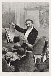 Drawing of Verdi conducting an orchestra