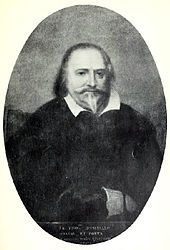 Artist's representation of a man looking straight out of the picture, with dark receding hair and pointed beard. He is wearing dark clothing with a loose white collar.