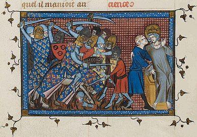 Miniature représentant Louis IX soutenu par un personnage tandis qu'en arrière plan des chevaliers aux armes de France affrontent des ennemis.