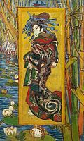 A Japanese woman looks to the left in a Ukiyo-e style painting