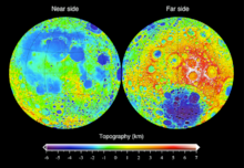 Topography of the Moon measured from the Lunar Orbiter Laser Altimeter on the mission Lunar Reconnaissance Orbiter, referenced to a sphere of radius 1737.4km