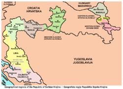 地图中彩色地区是塞尔维亚克拉伊纳共和国政权实际控制区域