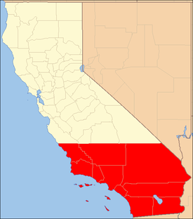 Red: The ten counties of Southern California