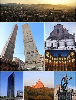 由顶端顺时针:博洛尼亚和周边山丘景观,圣白托略大殿,博洛尼亚大学,海神喷泉,圣路加的圣母朝圣地,Unipol塔(英语:Unipol Tower)及双塔