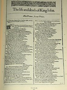 """A photograph of the first page of Shakespeare's play """"King John"""", with two columns of text below."""