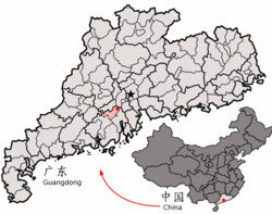 Location of Heshan City (pink) in Jiangmen City (yellow), Guangdong province, and the PRC