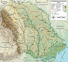 A map depicting Moldavia bordered by the river Dniester, the Black Sea and the Carpathian Mountains