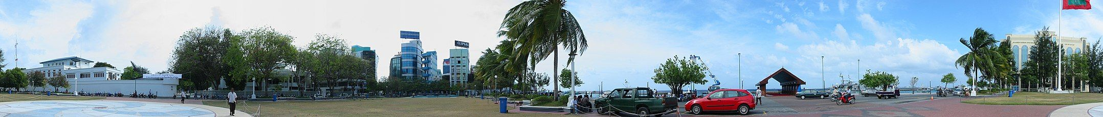 Panorama of the Republic Square and main jetty with MNDF Headquarters on the left and Police Headquarters on the right.