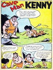 """3 panels, a brawny man standing to the left and a child to the right on the grass in front of a cave. The man is holding a hammer in his right hand and has only 2 teeth visible, the child a spear and dragging a cat behind him, and both are dressed in wraps around their waist with a strap around one shoulder. The man says, """"Well, son, you did very well on your first hunting trip...now you get your second lesson in surviving!"""" The child says, """"Me got food, what else do me have to do?"""" to which the man responds, """"You got to learn to start fire and cook food!"""" The third panel shows the child looking at a small tipi pyre, the man walks away and says, """"There is wood, now you light! I can't tell how—you must find out for yourself!"""" and the child says to himself, """"Jumping mammoths. Me gotta figure out all alone! I know, will use flint stone to make sparks!"""""""