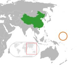 China和Micronesia在世界的位置