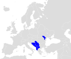 Map of Europe (grey) indicating the members of CEFTA (blue).