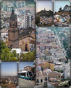 Collage of Velez-Malaga. Top left:San Juan Bautista Church, Top middle:View of Vélez-Málaga Fortress, from Remedios Hill, Top right:View of Los Remedios Hermitage、from San Cristbal Hills, Bottom left:View of downtown Vélez-Málaga, from Ermita Remedious Hill, Bottom middle:Vélez-Málaga tramway, near Torre del Mar Beach, Bottom right:View of Vivar Tellez Avenue from San Cristbal Hills