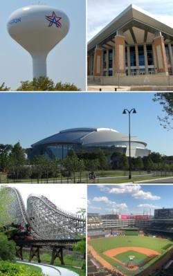 自顶部、由左至右分别是阿灵顿水塔、德州大学阿灵顿分校、AT&T体育场、六旗德州乐园(英语:Six Flags Over Texas)内的过山车新德克萨斯巨人(英语:New Texas Giant)和阿灵顿棒球场