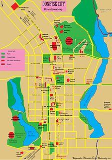 顿涅茨克市中心地图
