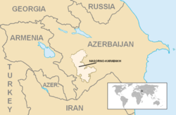 Location and extent of the former Nagorno-Karabakh Autonomous Oblast (lighter color)