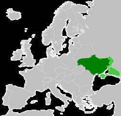 乌克兰国1918年在欧洲的位置