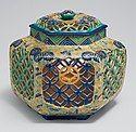 Ko-Kiyomizu (old Kiyomizu) lidded brazier (te-aburi) with paulownia and geometric design, Edo period, 18th century