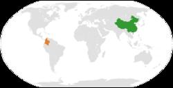 China和Colombia在世界的位置
