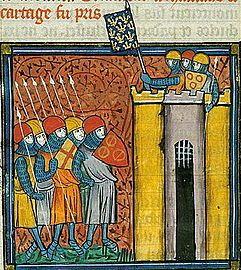 Miniature représentant des hommes d'arme au sommet d'une tour, et brandissant une bannière fleurdelisée.