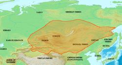 820年回鹘汗国极盛时的疆域图