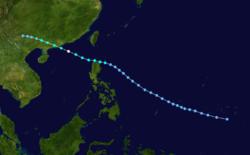 台风貝姬的路径图