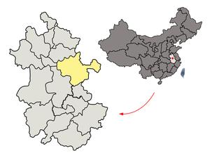 图中高亮显示的是滁州市