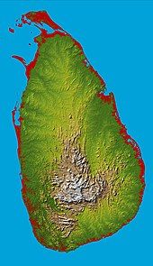 A roughly oval island with a mountainous centre