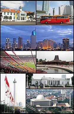 上方起,从左至右:雅加达旧城区、印度尼西亚酒店、雅加达天际线、格罗拉蓬卡诺体育场、缩影公园、印尼国家纪念塔、独立宫、伊斯蒂克拉尔清真寺