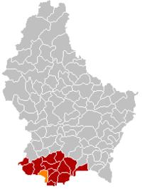 阿尔泽特河畔埃施在卢森堡地图上的位置,阿尔泽特河畔埃施为橙色,阿尔泽特河畔埃施县为深红色