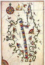 Corsica depicted on Piri Reis' 1513 map