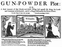 """Three illustrations in a horizontal alignment. The leftmost shows a woman praying, in a room. The rightmost shows a similar scene. The centre image shows a horizon filled with buildings, from across a river. The caption reads """"Westminster"""". At the top of the image, """"The Gunpowder Plot"""" begins a short description of the document's contents."""