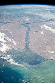 Large river ending in triangular delta into sea, seen from above the atmosphere