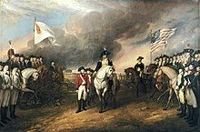 Center foreground a British officer on the left standing surrenders to a mounted Continental officer; far left foreground receding into the center background, a British line of infantry then mounted cavalry, with a large white flag of surrender; far right foreground receding into the center background, a Continental line of infantry, then mounted cavalry, with a large US flag of the Army.