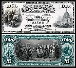 Proof of a $1,000 National Bank Note