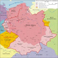 波兰立陶宛建立前波兰王国的最大疆域(1002年-1005年)