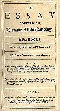"""Page reads """"An Essay Concerning Humane Understanding. In Four Books. Written by John Locke, Gent. The Fourth Edition, with large Additions. Eccles. XI. 5. As thou knowest not what is the way of the Spirit, nor how the bones do grow in the Womb of her that is with Child: even so thou knowest not the works of God, who maketh all things. Quam bellum est velle consteri potius nescire quod nescias, quam ista effutientum nauseare, atque ipsum sibi displicere! Cic. de Natur. Deor. l. I. London: Printed for Awasham and John Churchil, at the Black-Swan, in Pater-Noster-Row; and Samuel Manship, at the Ship in Cornhill, near the Royal Exchange, MDCC."""""""