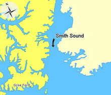 Map indicating Smith Sound, Nunavut, Canada.png