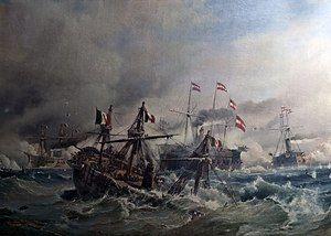 Soerensen Seeschlacht bei Lissa 1866 Rammstoss.jpg
