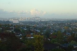Looking south over North Shore City from Forrest Hill. Auckland City can be seen in the background.