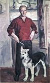 Leonid Mezheritski. Self Portrait with Whelp.jpg