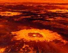 Impact craters on the surface of Venus (image reconstructed from radar data) 陨石坑 s 表面的金星 (从雷达资料重建的图像)