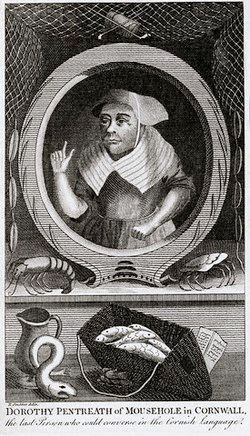 A black and white engraving of a woman in 18th century clothing with a bonnet. Fish, a crab, a crustacean and a jug are below