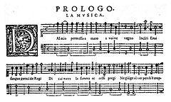 "Four staves of music manuscript, headed ""Prologo. La musica"", with a decorative ""D"" key signature"