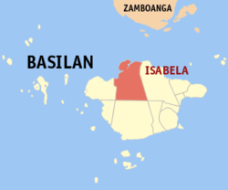 Map of Basilan with Isabela highlighted