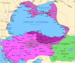 米特拉达梯六世时期本都王国的疆域: 深紫色:在位前的疆域,紫色:在位早期征服的疆域,紫红色:第一次米特拉达梯战争期间征服的区域