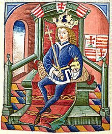 A crowned young Louis sits on a throne