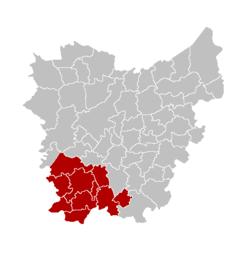 Location of the arrondissement in East-Flanders